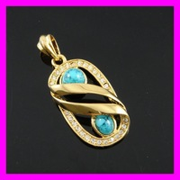 Fashion jewellry 18K gold plated turquoise stone pendant Free Shipping/Great Gift 1620243