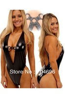 Sexy Faux Leather Teddy elasticity leather costume black club wear sexy lingerie LB1292