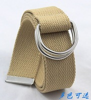 ON SALE 20% Canvas webbing belt casual all-match double-ring buckle waist of trousers webbing belt cloth strap lengthen edition