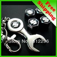 Suzuki Car tire valve caps 4pcs + wrench key chain freeshipping (FD-CAP-Suzuki)