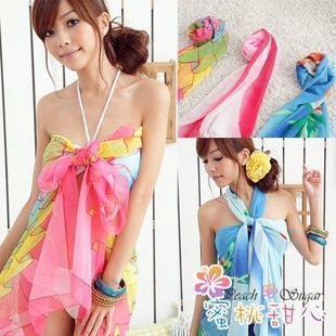 Free Shipping 2012 mantillas yarn scarf multi-color beach swimming pool yarn