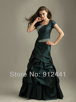Fashion 2013 New Arrival A-Line Squared Neck Short Cap Sleeves Sequined Pleated Taffeta Women Evening Dress ENS26+Free Shipping