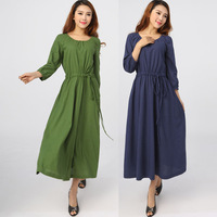cotton dress women's spring linen long-sleeve basic   the exception plus size casual expansion bottom fashion long