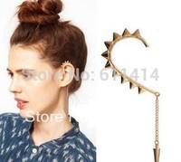 EC033,wholesale fashion rivet golden clip earrings with long chain,free shipping