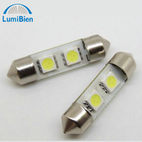 10pc 2led 5050smd white nice 12v festoon dome led bulbs car replacement lights automotive interior top door license plate lamps