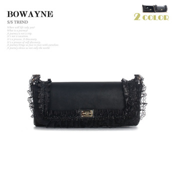 Bowayne chain bag shoulder bag banquet bag sheepskin eyelash lace women's genuine leather handbag ladies day clutch