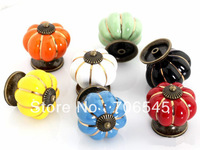 40mm Kitchen Ceramic Door Cabinets Cupboard Pumpkins Knobs Handles Pull Drawer 7 color