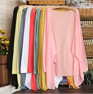 Candy chromophous no button cape sun protection clothing air conditioning thin cardigan three quarter sleeve