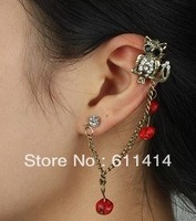 EC029,free shipping fashion clip earrings,cool earrings with red crystal,wholesale