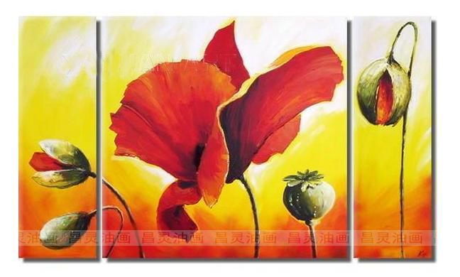3 red rattan flowers set frame sofa wall oil painting(China (Mainland))