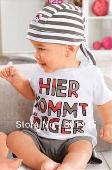 Summer baby boy suit short sleeve letter T-shirt + pants + scarf = 3pcs cotton suit for 70~100cm growth free shipping wholesale