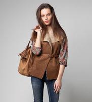 Spring fashion imitation chamois compound wool sweater vest slim vest leather belt