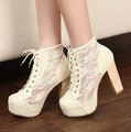 Black Beige Lace-up Women Pumps Sexy Lace High Heels Platform Ankle Boots Shoes free shipping