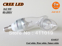 Free shipping High power CREE 3X2W 6W led candle bulb E14 E27 Warm white 220-240V LED Light downlight spotlight Lamp 10pcs