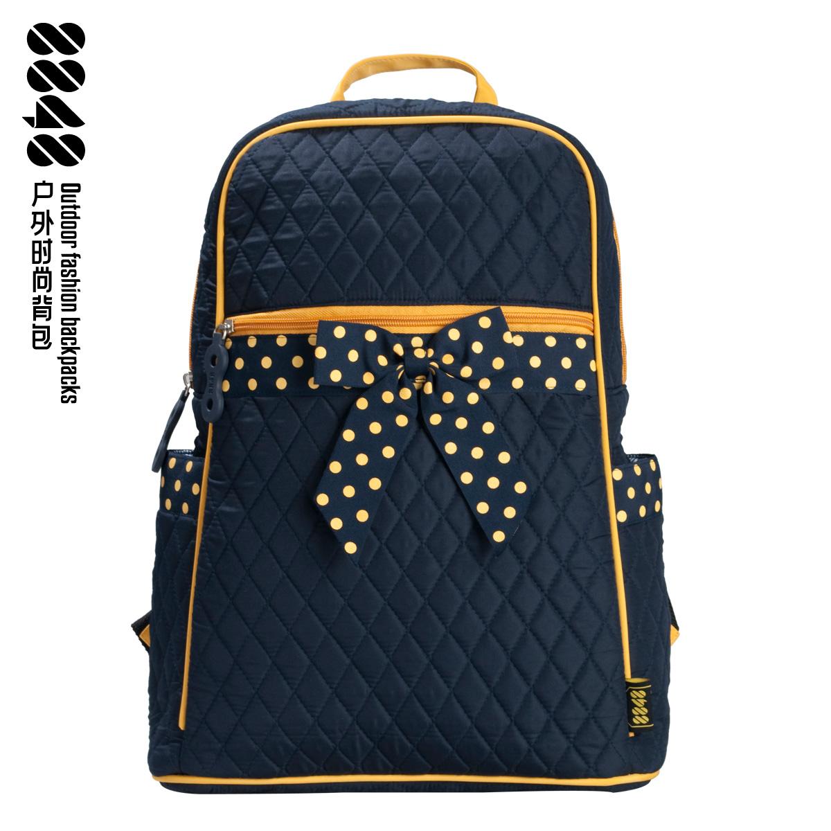 Preppy-style-bow-polka-dot-backpack-women-laptop-bag-middle-school ...