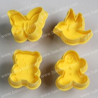 Free shipping,4pcs yellow message plunger cutter set,cookie cutter,cookie stamps