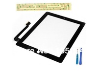 Free Shipping For iPad 3 New Digitizer Touch Screen Glass Replacement Repair Parts With 3M stick and Tools Black Color