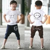 Children's clothing child set male child 2013 summer casual sports set short-sleeve T-shirt capris