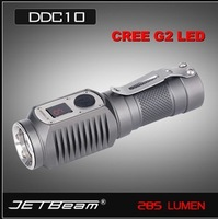Free shipping, JETBeam DDC10 Flashlight Digital Display 285 Lumen Cree G2 LED 285 Lumen Waterproof LED Flashlight Torch 1*CR123