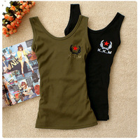 2013 Camouflage summer casual vest female spaghetti strap vest basic military slim Army Green vest