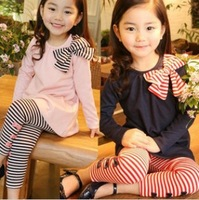 2014 Spring new bow long-sleeved T-shirt striped trousers for girls twinset,  bow blouse + stripe bottoming pants girls' suits