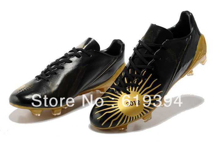 Free shipping 2013 New arrive discount soccer cleats limited edition Lionel Messi Ballon football boots in black gold size 39-45(China (Mainland))