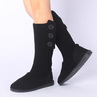 Snow 2013 all-match fashion snow boots buckle yarn boots plus cotton thermal black -Free Shipping