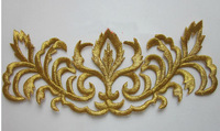 40pcs/lot gold Embroidery  DIY material fabric sticker Embroidery patch for clothes dress  bags cloth -made ornament
