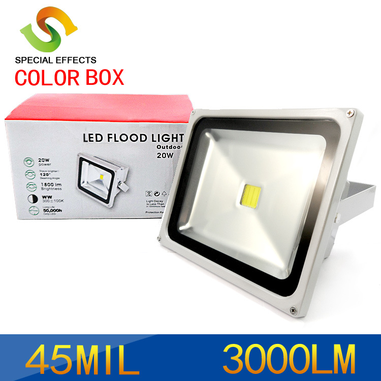 Factory direct sale 10W/20W/ 30W/50W led flood light 85~265V Outdoor Lamp +Retail color box .CE powersupply, Free shipping(China (Mainland))