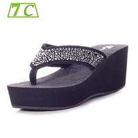 Sandals for women New 2014 summer shoes Leather sandalias Wedge Sandals Women's Rhinestone Platform sandalia Flip Flops slippers
