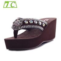 New 2014 Sandals for women sandalias Fashion Genuine Leather Flip Flops Wedges platform Sandals sapatos Summer shoes for women