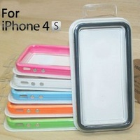 TPU Case Bumper For iPhone 4 4s with metal button free shipping 20pcs/lot