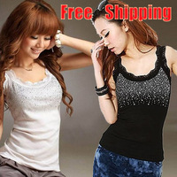 On Sale 1pc Black/Grey/White Women/Ladys Tops Vest Rhinestone Design Sleeveless T-Shirt Tank Free Shipping  651302