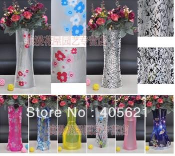 PVC creative folding magic vase, household plastic vase, Portable Folding Flower Pot 20pcs/lot + Free Shipping