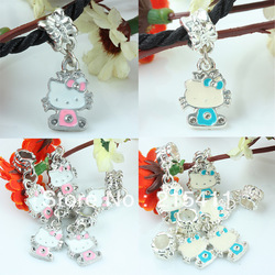 Enamel Lovely Hello Kitty Animal Dangle European Beads Fit Charms Bracelet(China (Mainland))