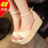 2013 cutout all-match fashion platform open toe platform wedges high-heeled platform sandals women's shoes