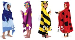 RETAIL Animal Children hooded bathrobe/ kids bath towel/bath terry children kids bathing robe Little Spring TJ-Q0026(China (Mainland))