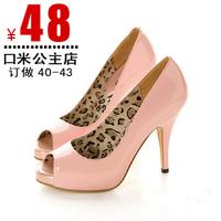 New arrival open toe shoe high-heeled platform sandals small yards 30 - 33 women's plus size shoes 40 - 43 women's shoes