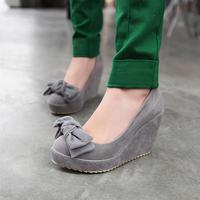 Fashion elegant women's shoes bow platform wedges single shoes customize small 32 - 33 plus size 40 - 43 female