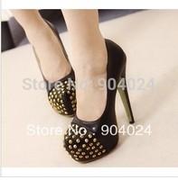 2014 Sale Sapatos Femininos Drop Ship Free Shipping Plus Size Ladies Fashion Evening High Heels Shoes Blackr Colour Party Pumps