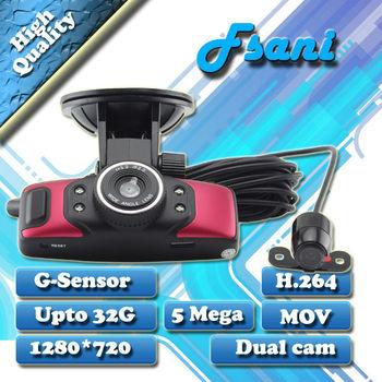Freeshipping NEW ARRIVAL Dual Lens Car Recorder DVR Black Box Video 120degree HD Ultra Wide Angle Lens H.264 + G-sensor + AV-OUT
