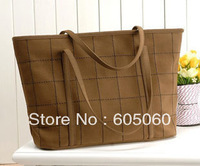 vintage casual  women bags brief imitation chamois scrub ladies' plaid shoulder handbag,free shipping