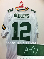 Football Elite Autographed Jerseys Green Bay #12 Aaron Rodgers White Green Top Signed Jersey size 40-56, Can Mix Order(China (Mainland))