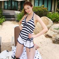 Steel push up triangle bikini piece set plus size navy style trunk swimwear