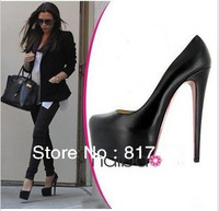 Perfect Neutral 2013 Hot Popular Shoes Famous Star Favorite Design Women Black/Beige Pumps 14CM Platform High Heels Red Bottom