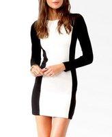 Free shipping 2013 Spring & Automn Europen & America Black+White Split Joint Hit Colour Women Slim Long Sleeve Dress,Skirt Sexy