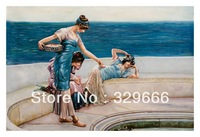 "Free Shipping (1 piece/pieces) Giclee Printed On Canvas Lawrence Alma Tadema Oil Painting ""Silver Favourites"" Scenery Decoration"