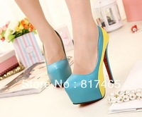 2013 Korea Sweet Style Popular Colorblock Pink Pumps Candy Color High Heels Platfom Spikes Girl Nude Shoes