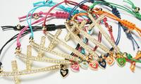 Free Shipping Wholesale 30Pcs/lot Fashion 1.5cm Crystal Cross Heart Chams  Evil Eye Bead  Hamsa Hand of God Fatima  Bracelet