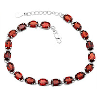 Natural Semi-precious Stone s925 silver Red Garnet Link Bracelet Birthstone fashion Tennis Chain Gift ysb0017g
